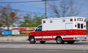 Speeding Ambulance races to scene of car accident